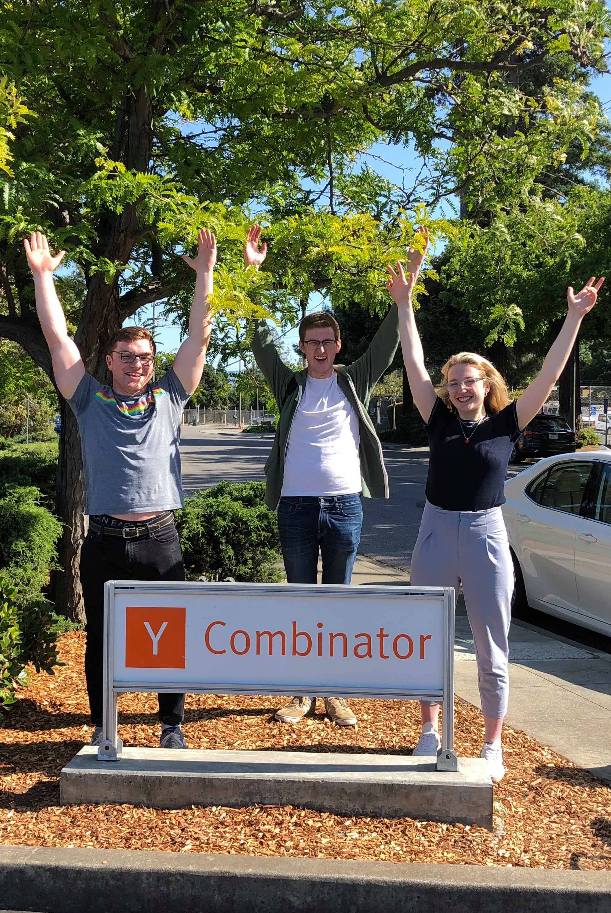 Us with the YC sign